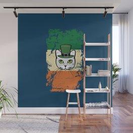 Irish Flag St Patrick Cat Leprechaun Blue Wall Mural