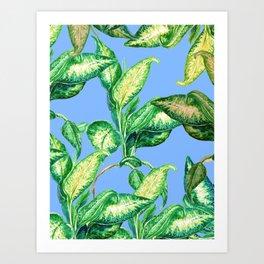 blue blue blue and green Art Print