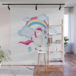 little unicorn and rainbow Wall Mural