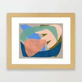 Shapes and Layers no.30 - Large Organic Shapes Blue Pink Green Gray Framed Art Print