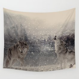 Mountain Wolves Wall Tapestry