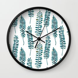 Watercolour Fern Pattern | Teal and Gold Wall Clock