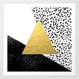 Erida - abstract black and white gold triangle painted dots minimalist decor nursery dorm college ar Art Print