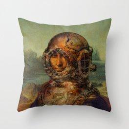 Steampunk Mona Lisa - Leonardo da Vinci Throw Pillow