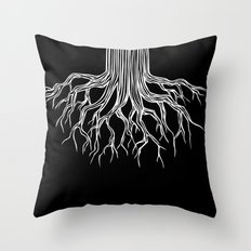 Tree Root Drawing (white on black) Throw Pillow
