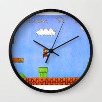 mario Wall Clocks featuring Mario by let's build a boat
