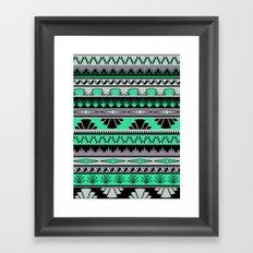 art deco stripes - green & pale purple Framed Art Print
