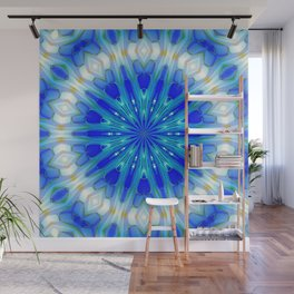 Daylight Blue Kaleidoscope Mandala Wall Mural