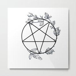Witch's Pentagram with Flora Adornments Metal Print