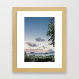 Chinamans Hat at Dusk on the island of Oahu, Hawaii Framed Art Print