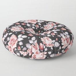 Vintage Pink Rose Flowers Floor Pillow