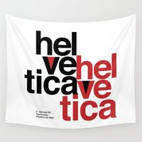 helvetica Wall Tapestries featuring Suisse Swiss Helvetica Type Specimen Artwork in White by ModernSense
