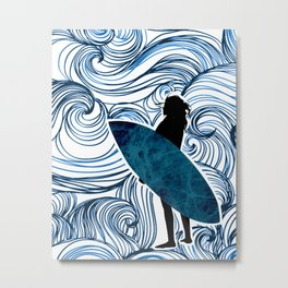 Surfer Girl with Swirl Background Metal Print