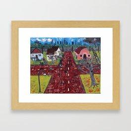 Red Brick Crossroads Framed Art Print