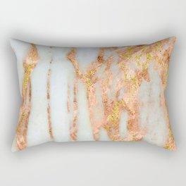 White Alabaster Marble With Flowing Gold-Glitter Veins Rectangular Pillow