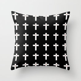 Christian Cross 30 with heart Throw Pillow