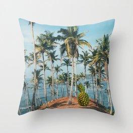 Palm Springs sea-island-palm-coconut Throw Pillow