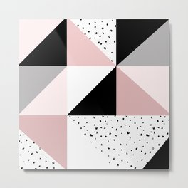 Geometrical pink black gray watercolor polka dots color block Metal Print