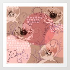 Hellabore line pattern, rose Art Print