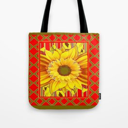AVOCADO COLOR RED YELLOW SUNFLOWER ART Tote Bag