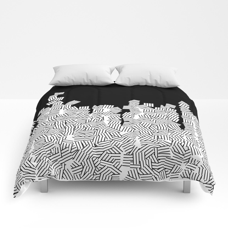 Minimalist Black White Geometric Comforters