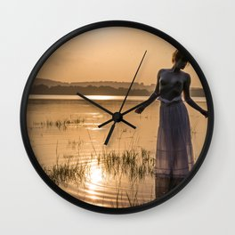 Topless Female Model At Sunset Wall Clock