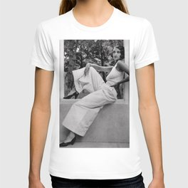 Roaring Twenties Jazz Age Flapper relaxing in high fashion black and white photograph T-shirt