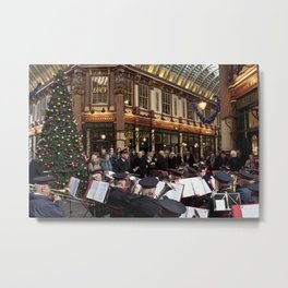 Leadenhall Market at Christmas Metal Print
