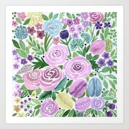 Watercolor . Macaroons in the colors . Art Print