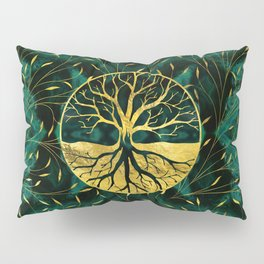 Golden Tree of Life on Malachite Pillow Sham