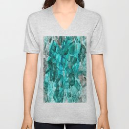 Turquoise Glass Chrystal Abstract Unisex V-Neck
