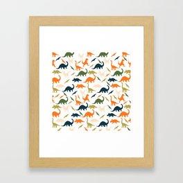 Dinos in Pastel Green and Orange Framed Art Print
