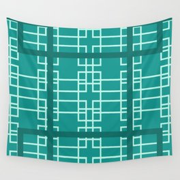 Midcentury Modern Geometric Turquoise Wall Tapestry
