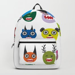 Cute cartoon Monsters Set. Big collection on white background Backpack