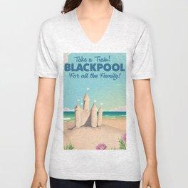 Blackpool,England vintage sandcastle train travel poster Unisex V-Neck