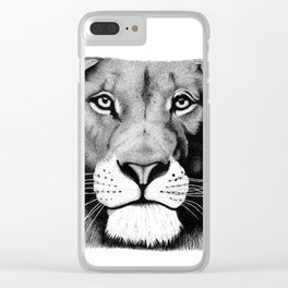 Lion face Clear iPhone Case