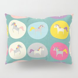 Cute Unicorn polka dots teal pastel colors and linen texture #homedecor #apparel #stationary #kids Pillow Sham