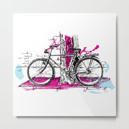 Lone Bicycle Metal Print