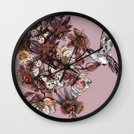 Tropical design with exotic flowers and hummingbird Wall Clock