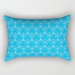 Icosahedron Pattern Bright Blue Rectangular Pillow
