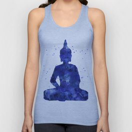 Buddha - Zen Watercolor Blue Unisex Tank Top