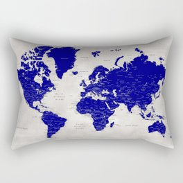 "Navy blue and grey detailed world map, ""Delaney"" Rectangular Pillow"