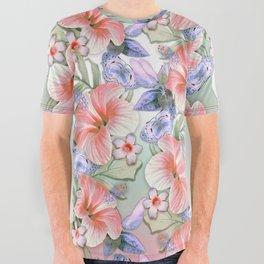 Hibiscus Aloha Stripe All Over Graphic Tee