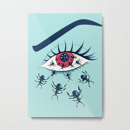 Creepy Red Eye With Ants Metal Print