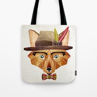 mr fox Tote Bags featuring mr. fox by Manoou