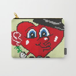 Picture with heart and flower. Happy Valentine's day. Carry-All Pouch