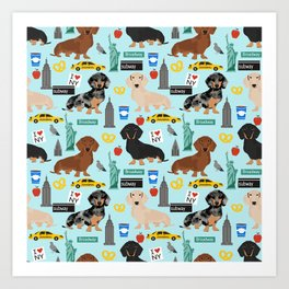 Dachshund dog breed NYC new york city pet pattern doxie coats dapple merle red black and tan Art Print