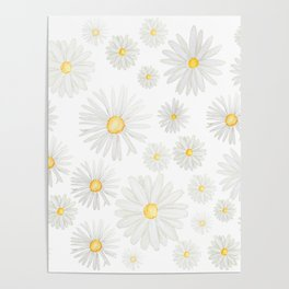 white daisy pattern watercolor Poster