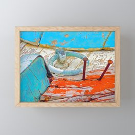 A boat that was washed ashore on Ageon Sea, decaying in the sun. Framed Mini Art Print
