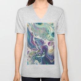 Fluid Nature - Purple Dance - Abstract Acrylic Pour Art Unisex V-Neck